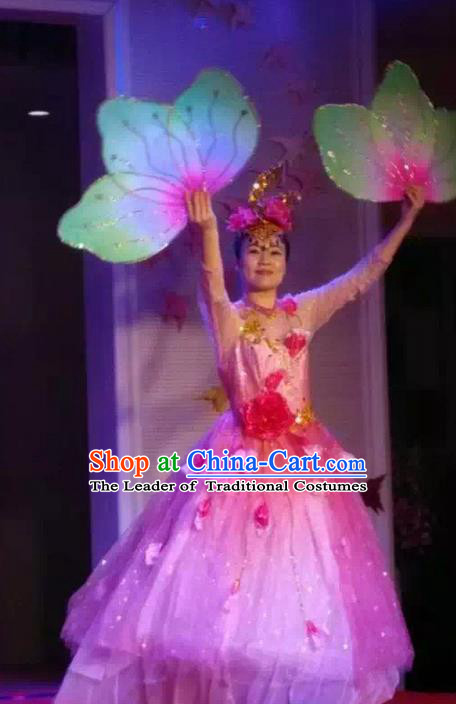 Traditional Chinese Modern Dancing Costume, Women Opening Classic Chorus Singing Group Dance Flowers Costume, Umbrella Dance Pink Bubble Dress for Women