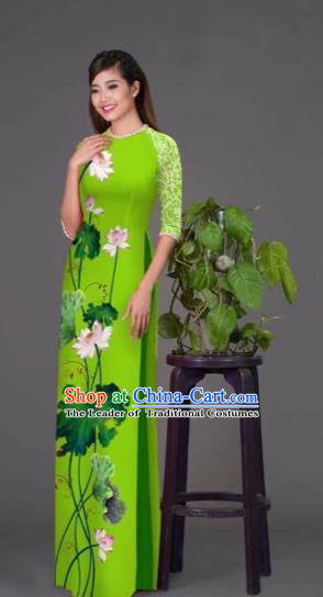 Traditional Top Grade Asian Vietnamese Costumes Classical Printing Lotus Green Cheongsam, Vietnam National Vietnamese Princess Bride Korean Silk Ao Dai Dress