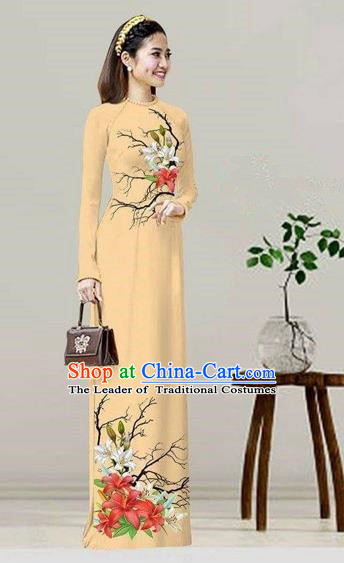 Traditional Top Grade Asian Vietnamese Costumes Classical Printing Khaki Cheongsam, Vietnam National Vietnamese Bride Ao Dai Dress