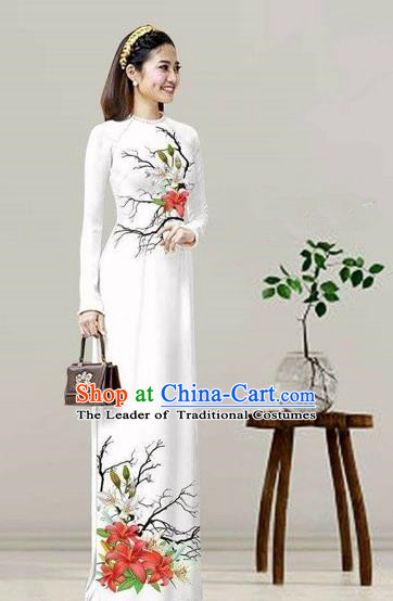 Traditional Top Grade Asian Vietnamese Costumes Classical Printing White Cheongsam, Vietnam National Vietnamese Bride Ao Dai Dress