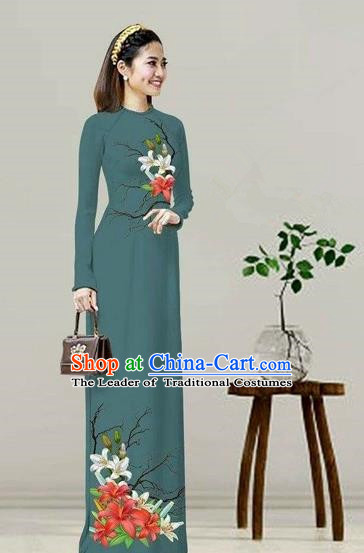 Traditional Top Grade Asian Vietnamese Costumes Classical Printing Olive Green Cheongsam, Vietnam National Vietnamese Bride Ao Dai Dress