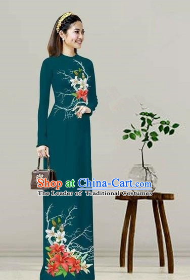 Traditional Top Grade Asian Vietnamese Costumes Classical Printing Peacock Green Cheongsam, Vietnam National Vietnamese Bride Ao Dai Dress