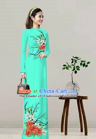 Traditional Top Grade Asian Vietnamese Costumes Classical Printing Viridis Cheongsam, Vietnam National Vietnamese Bride Ao Dai Dress