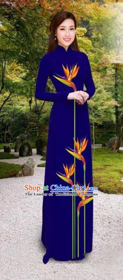 Traditional Top Grade Asian Vietnamese Costumes Classical Printing Long Cheongsam, Vietnam National Vietnamese Princess Bride Royalblue Ao Dai Dress