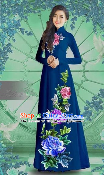 Traditional Top Grade Asian Vietnamese Costumes Classical Printing Navy Chiffon Cheongsam, Vietnam National Vietnamese Bride Ao Dai Dress