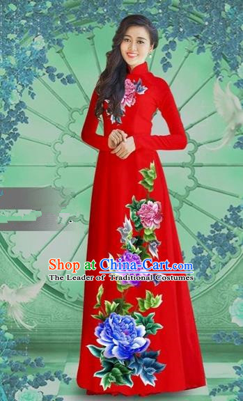 Traditional Top Grade Asian Vietnamese Costumes Classical Printing Red Chiffon Cheongsam, Vietnam National Vietnamese Bride Ao Dai Dress