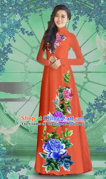 Traditional Top Grade Asian Vietnamese Costumes Classical Printing Orange Chiffon Cheongsam, Vietnam National Vietnamese Bride Ao Dai Dress