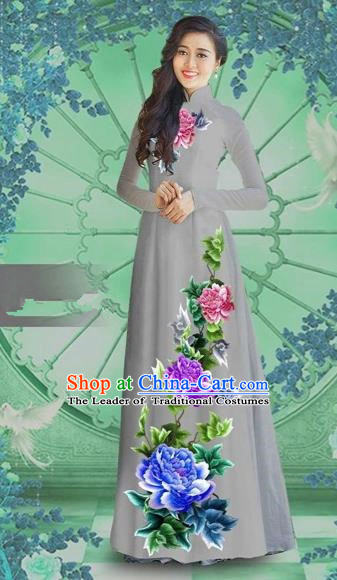 Traditional Top Grade Asian Vietnamese Costumes Classical Printing Grey Chiffon Cheongsam, Vietnam National Vietnamese Bride Ao Dai Dress