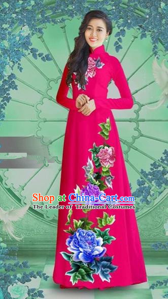 Traditional Top Grade Asian Vietnamese Costumes Classical Printing Rosy Chiffon Cheongsam, Vietnam National Vietnamese Bride Ao Dai Dress