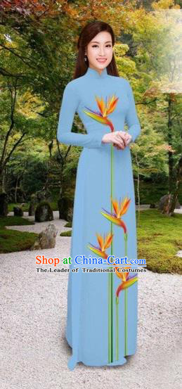 Traditional Top Grade Asian Vietnamese Costumes Classical Printing Long Cheongsam, Vietnam National Vietnamese Princess Bride Blue Ao Dai Dress