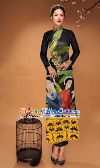Traditional Top Grade Asian Vietnamese Costumes Classical Printing Cheongsam, Vietnam National Vietnamese Bride Black Ao Dai Dress Tang Suit Clothing