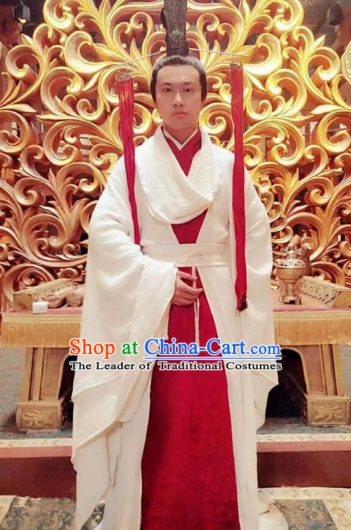 Traditional Chinese Ancient Shang Dynasty Palace Minister Costume, China Mythology Television Zhao Ge Ancient Infante Clothing and Headwear Complete Set for Men