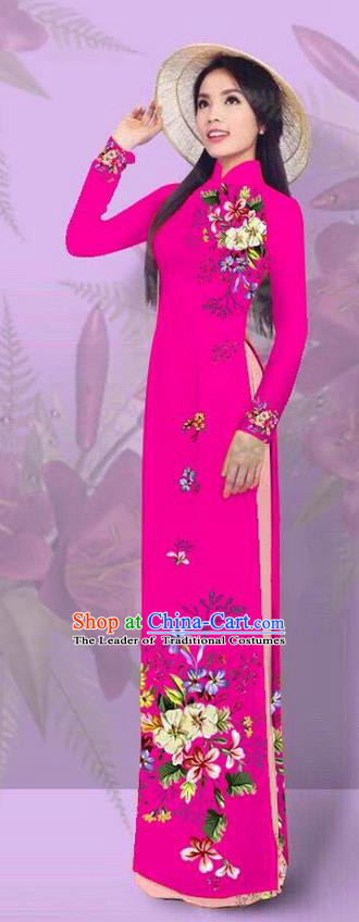 Top Grade Asian Vietnamese Costumes Classical Jing Nationality Printing Rosy Cheongsam, Vietnam National Vietnamese Traditional Princess Ao Dai Dress for Women