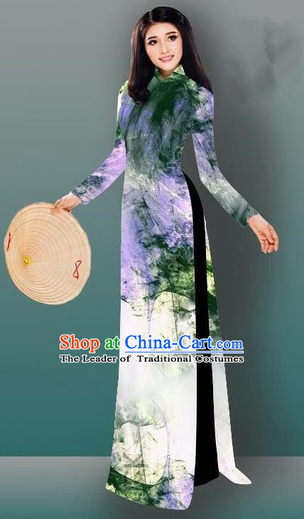 Top Grade Asian Vietnamese Costumes Classical Jing Nationality Gradient Watercolor Printing Deep Green Cheongsam, Vietnam National Vietnamese Traditional Princess Ao Dai Dress