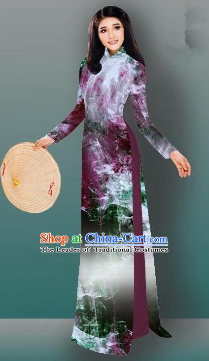 Top Grade Asian Vietnamese Costumes Classical Jing Nationality Gradient Watercolor Printing Wine Red Cheongsam, Vietnam National Vietnamese Traditional Princess Ao Dai Dress