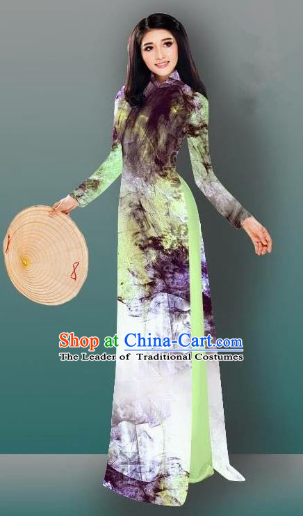 Top Grade Asian Vietnamese Costumes Classical Jing Nationality Gradient Watercolor Printing Cheongsam, Vietnam National Vietnamese Traditional Princess Ao Dai Dress
