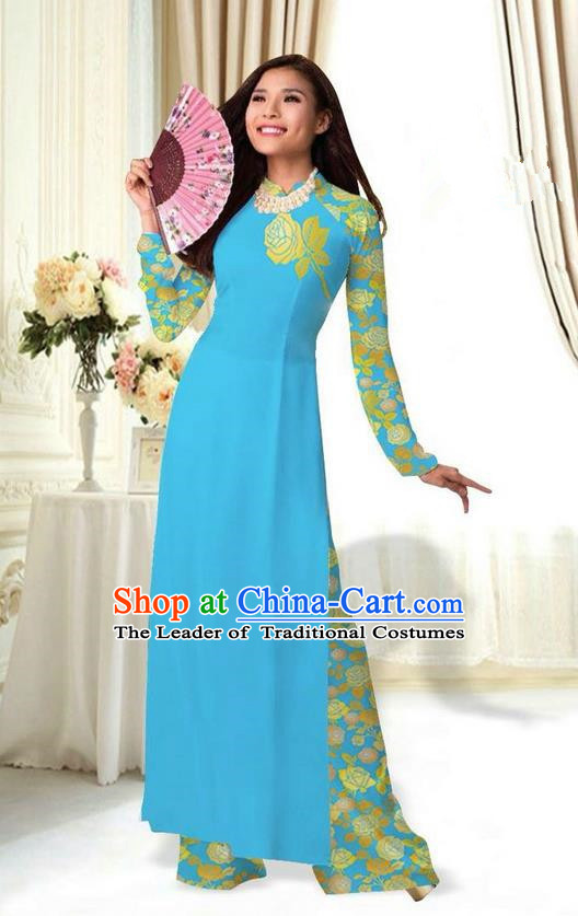 Top Grade Asian Vietnamese Costumes Classical Jing Nationality Printing Flower Blue Cheongsam, Vietnam National Vietnamese Traditional Princess Ao Dai Dress