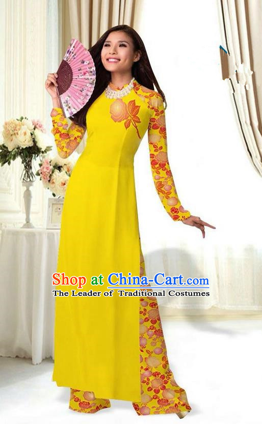 Top Grade Asian Vietnamese Costumes Classical Jing Nationality Printing Flower Yellow Cheongsam, Vietnam National Vietnamese Traditional Princess Ao Dai Dress