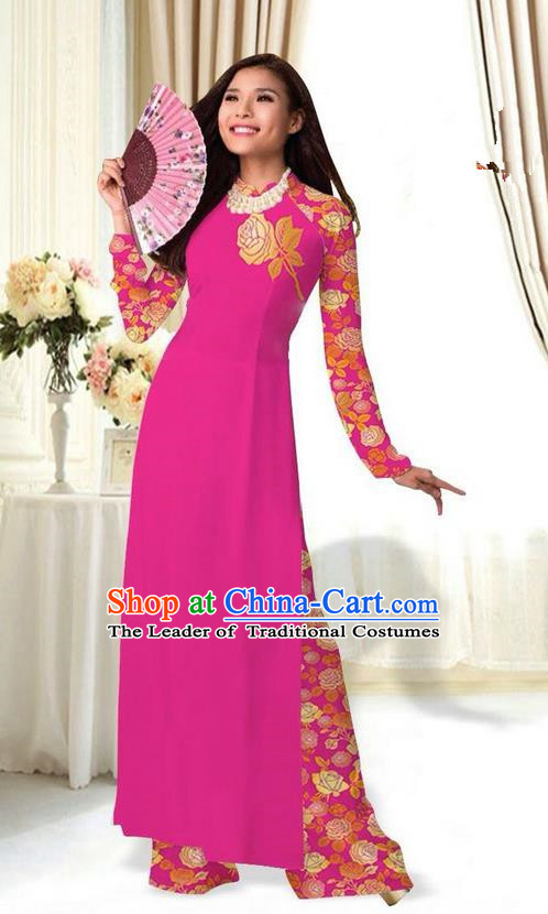 Top Grade Asian Vietnamese Costumes Classical Jing Nationality Printing Flower Rosy Cheongsam, Vietnam National Vietnamese Traditional Princess Ao Dai Dress