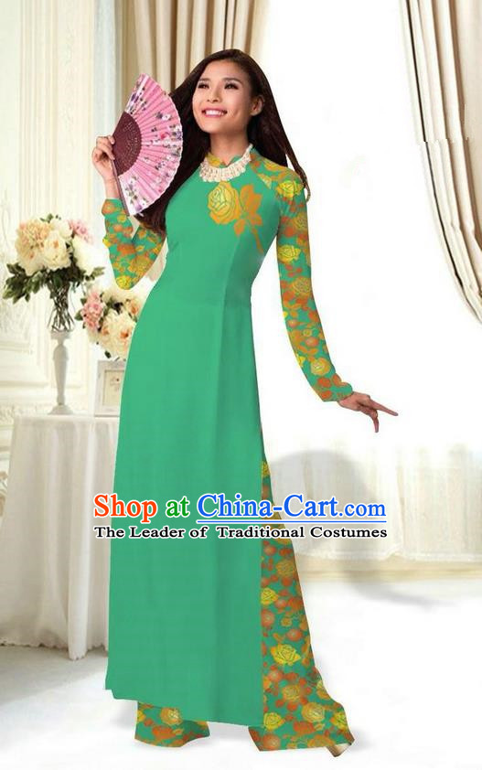 Top Grade Asian Vietnamese Costumes Classical Jing Nationality Printing Flower Green Cheongsam, Vietnam National Vietnamese Traditional Princess Ao Dai Dress