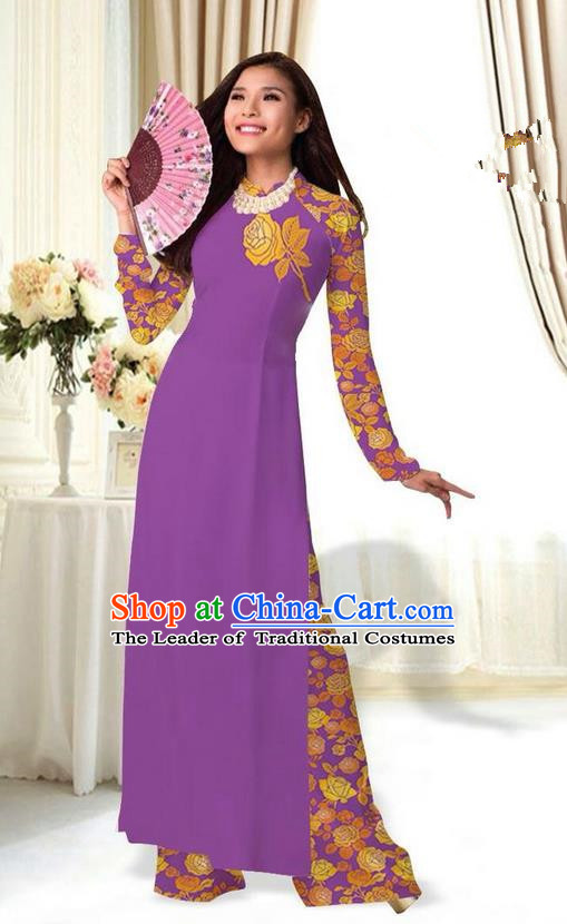 Top Grade Asian Vietnamese Costumes Classical Jing Nationality Printing Flower Purple Cheongsam, Vietnam National Vietnamese Traditional Princess Ao Dai Dress