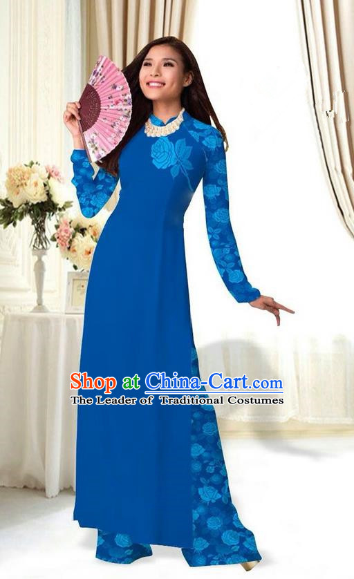 Top Grade Asian Vietnamese Costumes Classical Jing Nationality Printing Flower Royalblue Cheongsam, Vietnam National Vietnamese Traditional Princess Ao Dai Dress