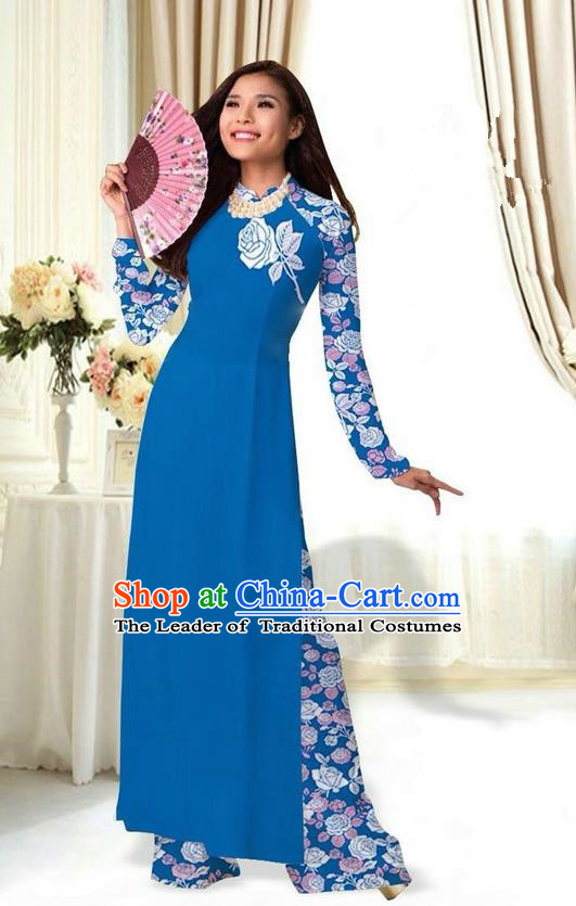 Top Grade Asian Vietnamese Costumes Classical Jing Nationality Printing Flower Peacock Blue Cheongsam, Vietnam National Vietnamese Traditional Princess Ao Dai Dress