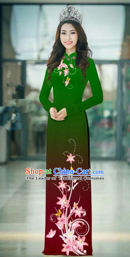 Top Grade Asian Vietnamese Costumes Classical Jing Nationality Printing Handmade Green Cheongsam, Vietnam National Vietnamese Traditional Princess Ao Dai Dress