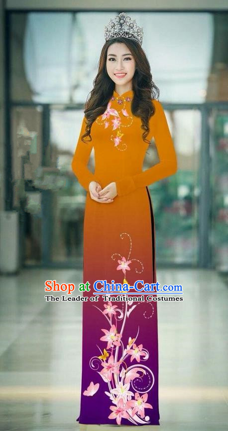 Top Grade Asian Vietnamese Costumes Classical Jing Nationality Printing Handmade Ginger Cheongsam, Vietnam National Vietnamese Traditional Princess Ao Dai Dress