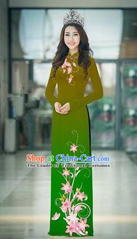 Top Grade Asian Vietnamese Costumes Classical Jing Nationality Printing Handmade Light Green Cheongsam, Vietnam National Vietnamese Traditional Princess Ao Dai Dress