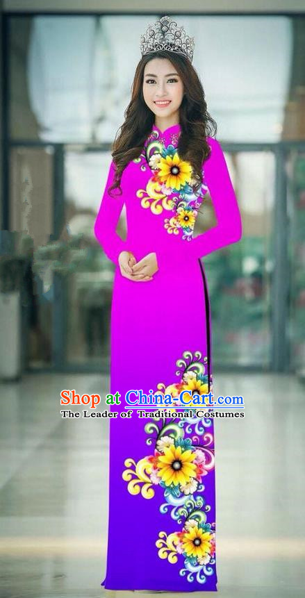Top Grade Asian Vietnamese Costumes Classical Jing Nationality Printing Handmade Gradient Purple Cheongsam, Vietnam National Vietnamese Traditional Princess Ao Dai Dress