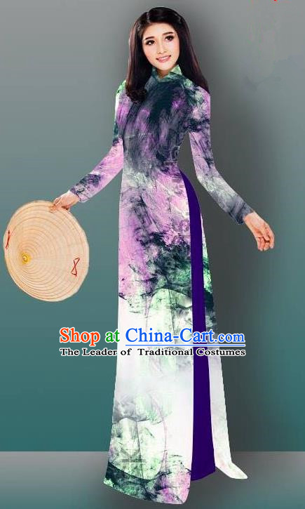 Top Grade Asian Vietnamese Costumes Classical Jing Nationality Gradient Watercolor Printing Cheongsam, Vietnam National Vietnamese Traditional Princess Ao Dai Dress for Women