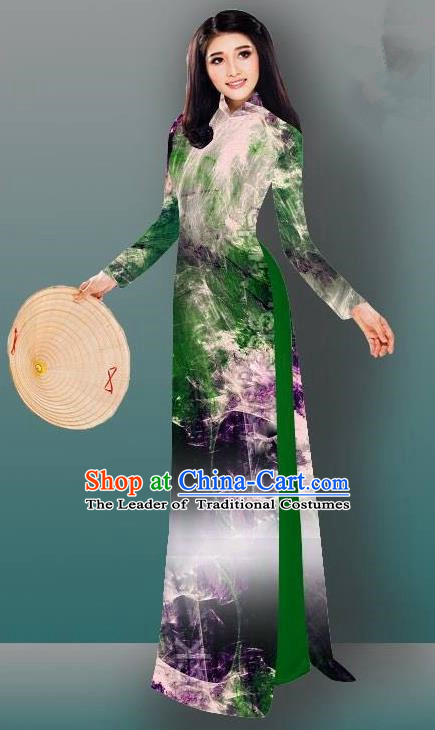 Top Grade Asian Vietnamese Costumes Classical Jing Nationality Gradient Watercolor Printing Green Cheongsam, Vietnam National Vietnamese Traditional Princess Ao Dai Dress