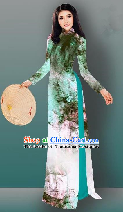 Top Grade Asian Vietnamese Costumes Classical Jing Nationality Gradient Watercolor Printing Light Green Cheongsam, Vietnam National Vietnamese Traditional Princess Ao Dai Dress