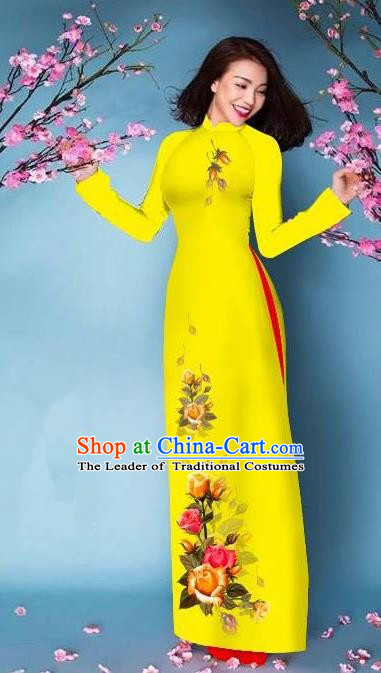 Top Grade Asian Vietnamese Costumes Classical Jing Nationality Printing Handmade Yellow Cheongsam, Vietnam National Vietnamese Bride Traditional Princess Ao Dai Dress