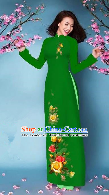 Top Grade Asian Vietnamese Costumes Classical Jing Nationality Printing Handmade Green Cheongsam, Vietnam National Vietnamese Bride Traditional Princess Ao Dai Dress