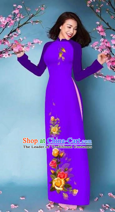 Top Grade Asian Vietnamese Costumes Classical Jing Nationality Printing Handmade Purple Cheongsam, Vietnam National Vietnamese Bride Traditional Princess Ao Dai Dress
