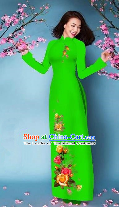 Top Grade Asian Vietnamese Costumes Classical Jing Nationality Printing Handmade Light Green Cheongsam, Vietnam National Vietnamese Bride Traditional Princess Ao Dai Dress