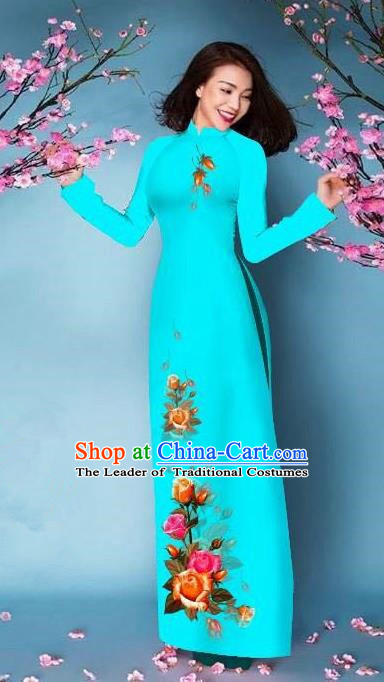 Top Grade Asian Vietnamese Costumes Classical Jing Nationality Printing Handmade Light Blue Cheongsam, Vietnam National Vietnamese Bride Traditional Princess Ao Dai Dress
