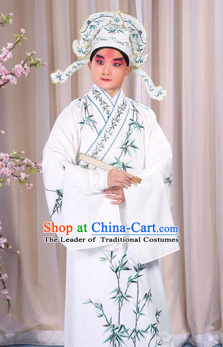 Traditional Chinese Beijing Opera White Dress Clothing, China Peking Opera Young Man Costume Embroidered Bamboo Leaf Robe Opera Costumes