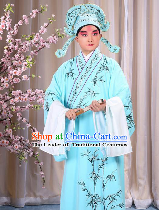 Traditional Chinese Beijing Opera Blue Dress Clothing, China Peking Opera Young Man Costume Embroidered Bamboo Leaf Robe Opera Costumes