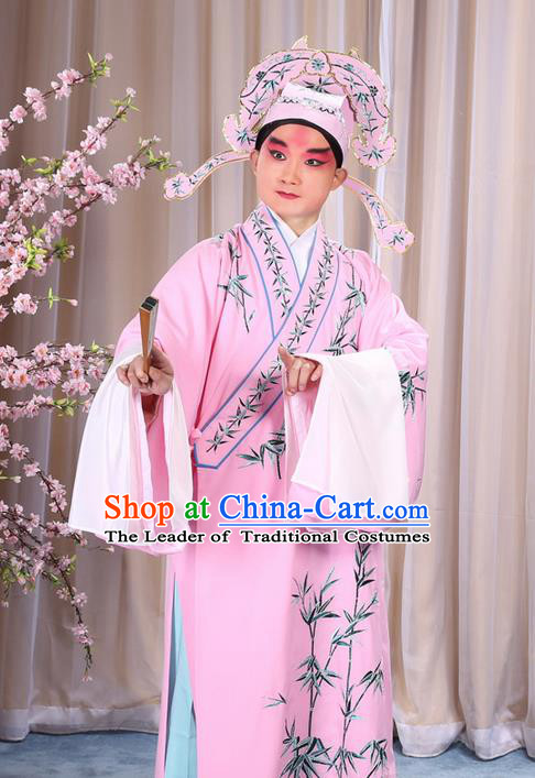 Traditional Chinese Beijing Opera Pink Dress Clothing, China Peking Opera Young Man Costume Embroidered Bamboo Leaf Robe Opera Costumes