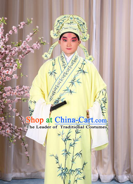 Traditional Chinese Beijing Opera Yellow Dress Clothing, China Peking Opera Young Man Costume Embroidered Bamboo Leaf Robe Opera Costumes
