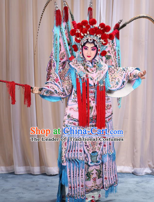 Traditional Chinese Beijing Opera Magic Warriors Pink Clothing and Shoes Complete Set, China Peking Opera Blues Costume Embroidered Robe Opera Costumes