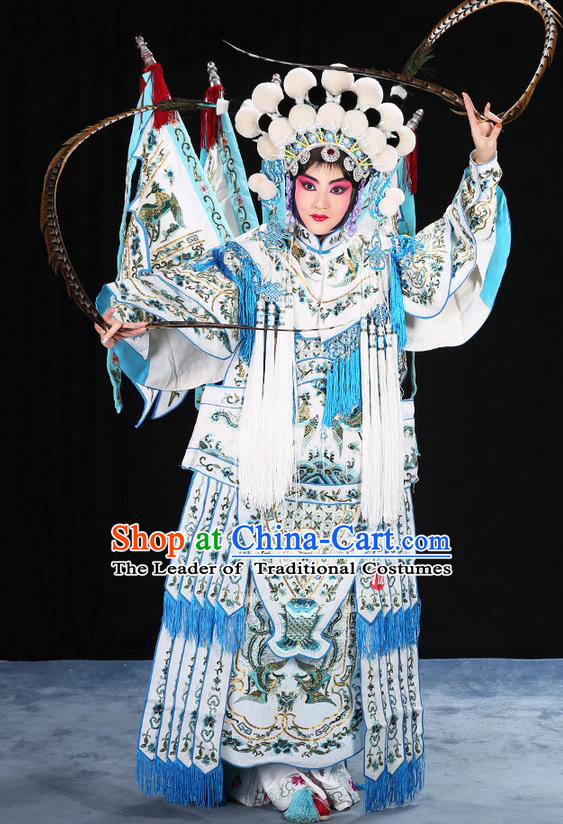 Traditional Chinese Beijing Opera Magic Warriors White Mu Guiying Clothing and Shoes Complete Set, China Peking Opera Blues Costume Embroidered Robe Opera Costumes