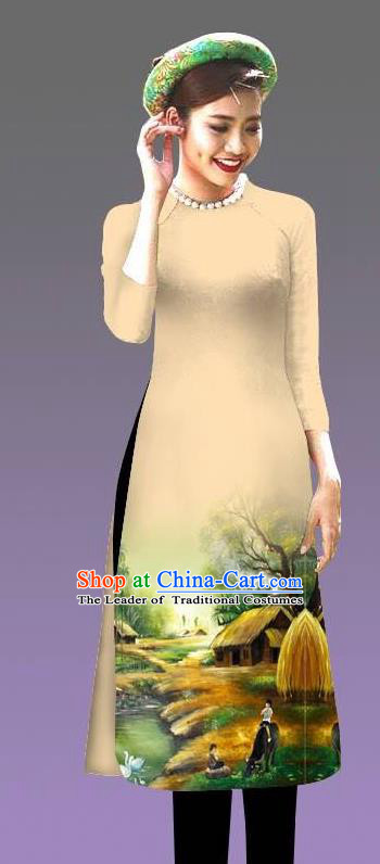 Top Grade Asian Vietnamese Costumes Classical Jing Nationality Landscape Painting Cheongsam, Vietnam National Vietnamese Bride Traditional Princess Yellow Ao Dai Dress
