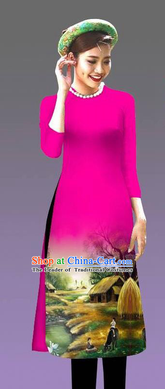 Top Grade Asian Vietnamese Costumes Classical Jing Nationality Landscape Painting Cheongsam, Vietnam National Vietnamese Bride Traditional Princess Rosy Ao Dai Dress