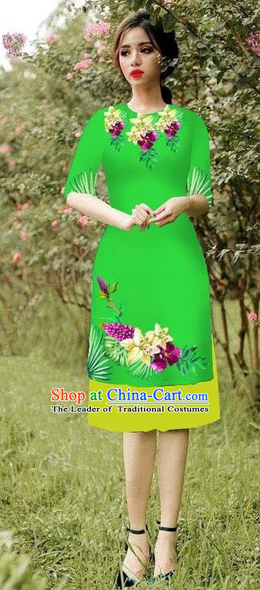 Top Grade Asian Vietnamese Costumes Classical Jing Nationality Short Cheongsam, Vietnam National Vietnamese Bride Traditional Princess Green Ao Dai Dress