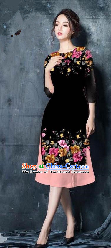 Top Grade Asian Vietnamese Costumes Classical Jing Nationality Short Printing Flowers Cheongsam, Vietnam National Vietnamese Bride Traditional Princess Black Ao Dai Dress