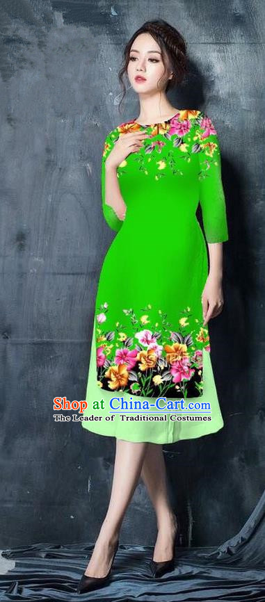 Top Grade Asian Vietnamese Costumes Classical Jing Nationality Short Printing Flowers Cheongsam, Vietnam National Vietnamese Bride Traditional Princess Green Ao Dai Dress